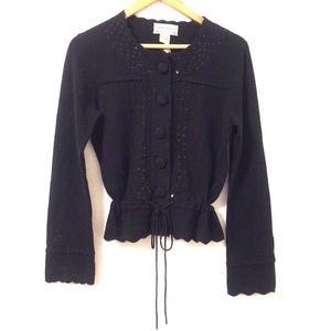Nanette Lepore Cardigan Sweater Cashmere Sequin L